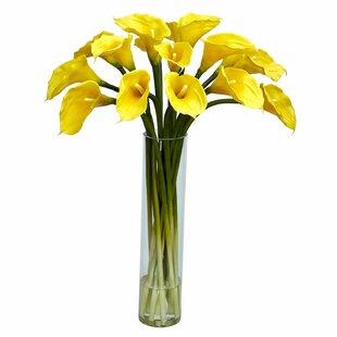 Silk flowers in glass vase wayfair calla lilly with cylinder silk flower arrangement in glass vase mightylinksfo