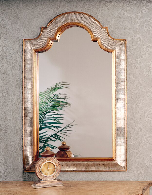 Arch Wall Mirror world menagerie arch/crowned top gold and silver leaf wall mirror