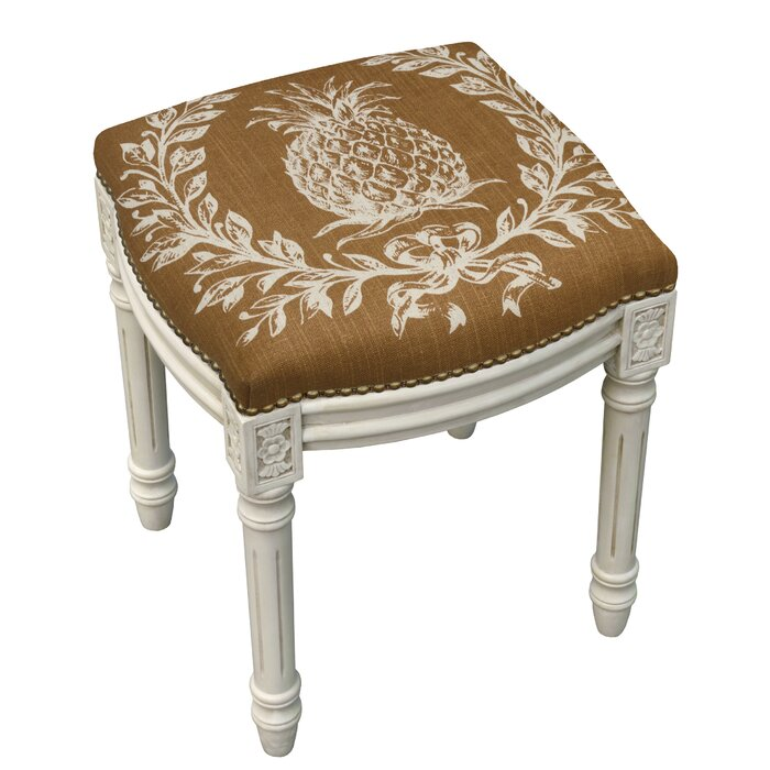 Super Pineapple Linen Upholstered Vanity Stool With Nailhead Theyellowbook Wood Chair Design Ideas Theyellowbookinfo