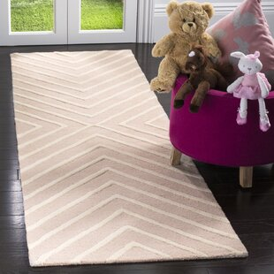 Brenner Hand Tufted Wool Pink Ivory X Pattern Area Rug