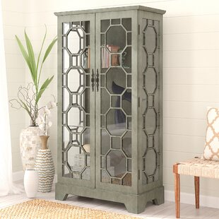 Exceptionnel Mason 2 Door Painted Glass Curio With Fretwork Cabinet