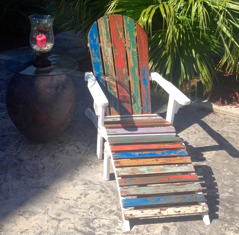 Petunia Recycled Boats Adirondack Chair With Footstool