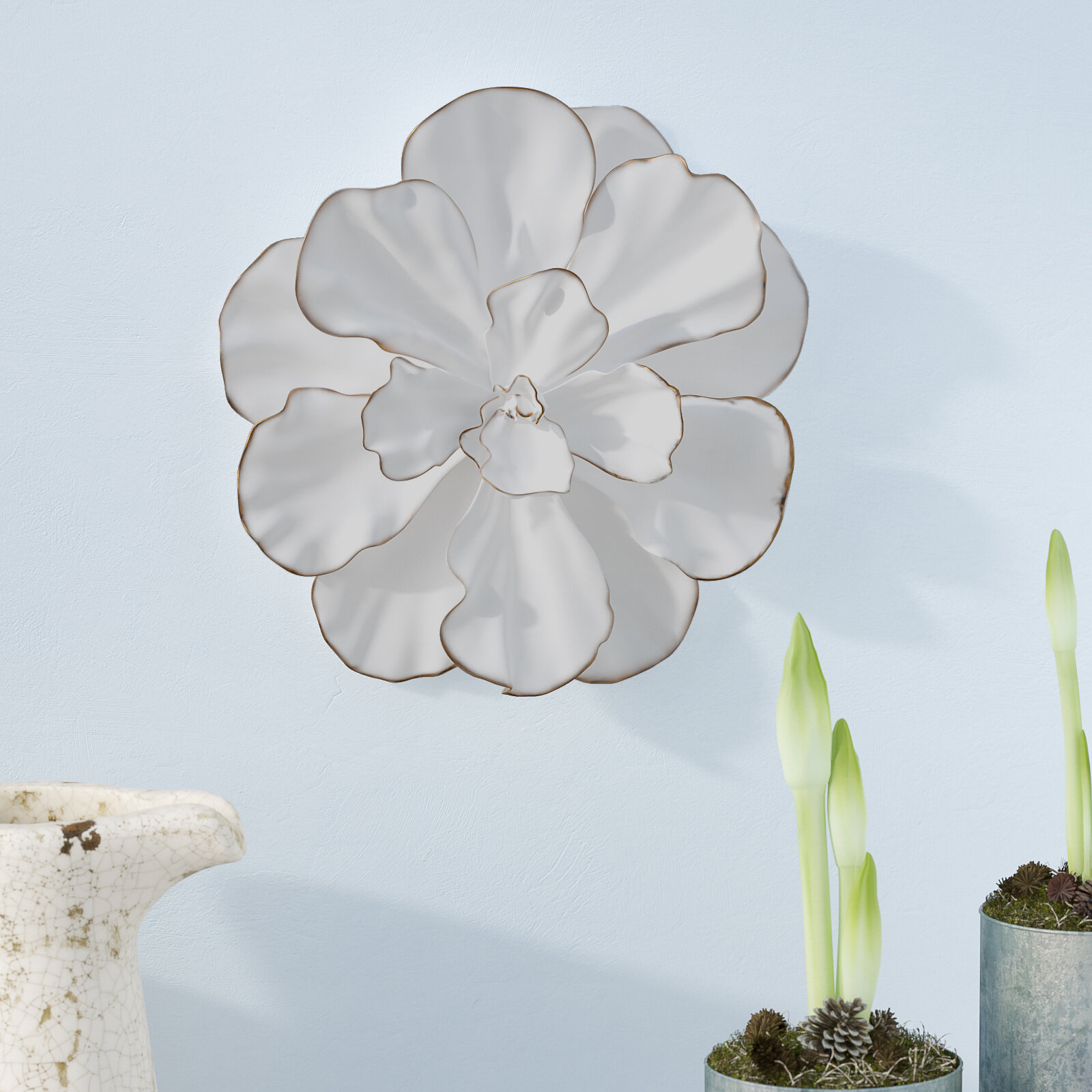 ordinary 3d Flower Wall Decor Part - 1: White-Gold Flower Wall Décor