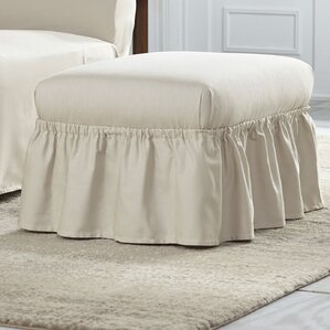 Cotton Duck Ruffle Ottoman Slipcover by Serta