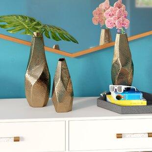3 Piece Novelty Bronze Geometric Vase Set