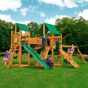 Pioneer Peak with Amber Posts and Canopy Cedar Swing Set