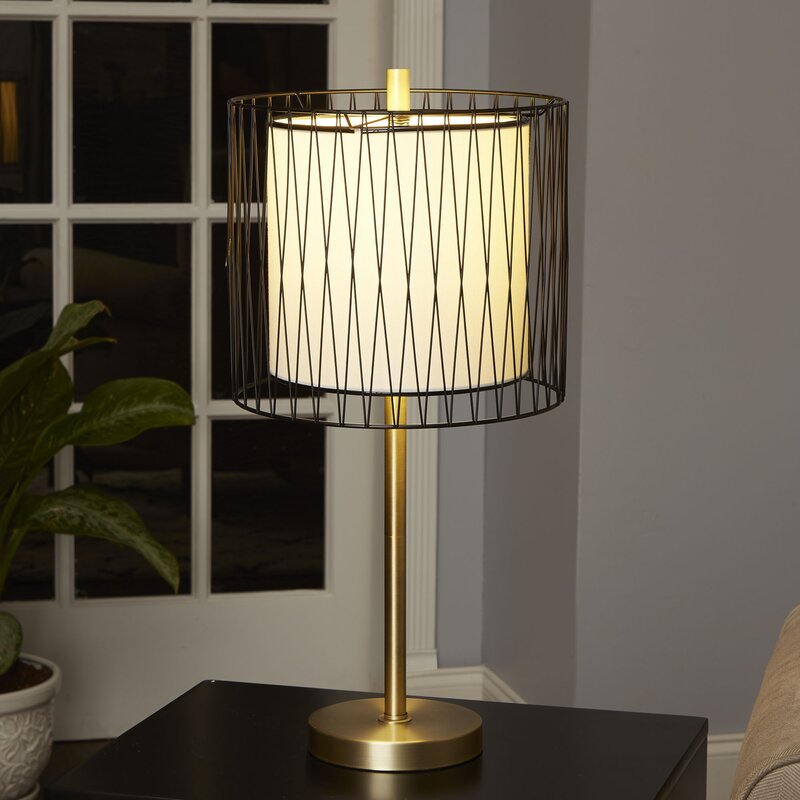 Ivy bronx amici 23 table lamp with wire cage accent reviews amici 23 table lamp with wire cage accent greentooth Images