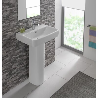 Bissonnet Comprimo Vitreous China 22 Pedestal Bathroom Sink with Overflow