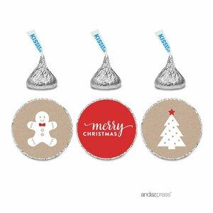 216 Piece Merry Christmas Gingerbread Man on Kraft Chocolate Drop Label Sticker