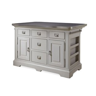 Bailes Kitchen Island with Stainless Steel Counter Top