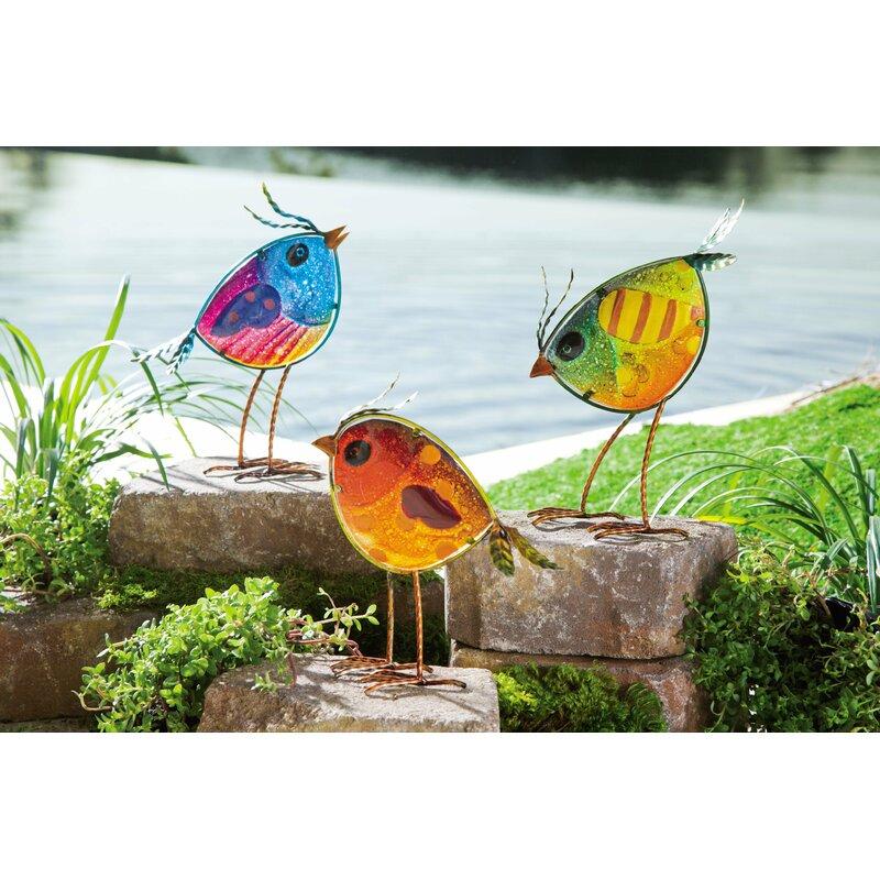 Wayfair Garden Statues: Wind & Weather Colorful Glass Bird 3 Piece Statue Set