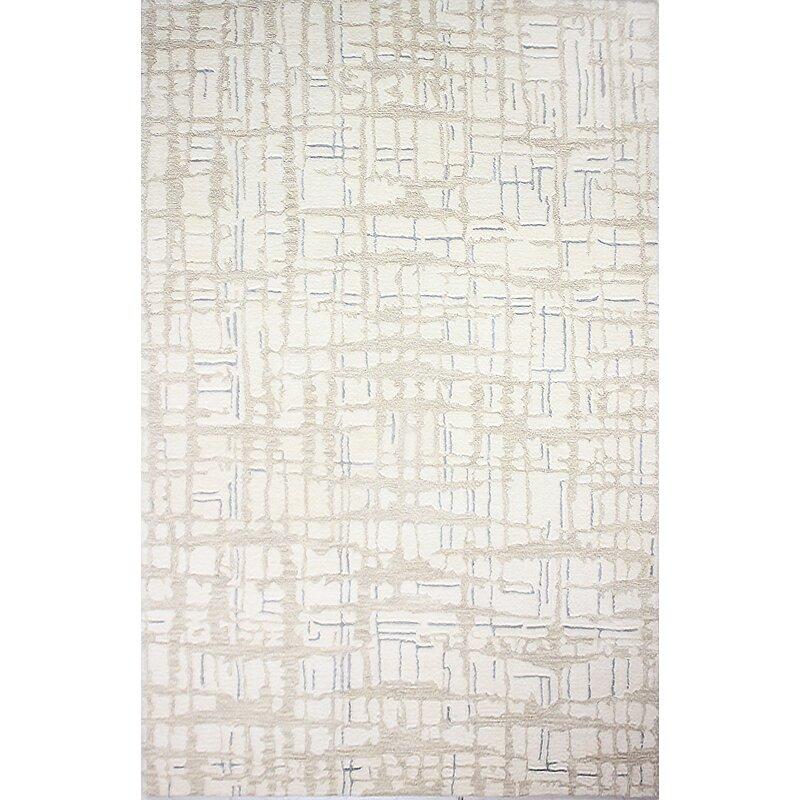 Williston Forge Goddard Artsilk Hand-Knotted Ivory Area Rug, Size: Runner 26 x 8