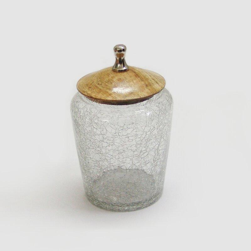 winston porter crackle glass canister with wooden lid storage jar reviews. Black Bedroom Furniture Sets. Home Design Ideas