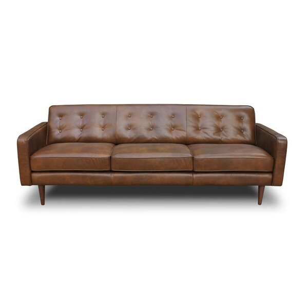 Corrigan studio trevor mid century modern leather sofa for Mid century modern sofas