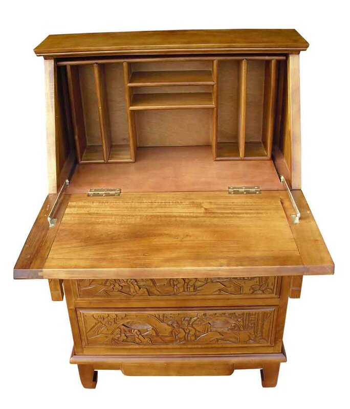 Chinese Carved Secretary Desk