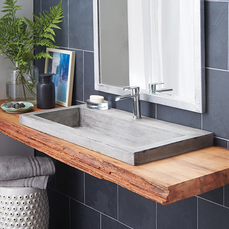 Trough Stone Rectangular Drop In Bathroom Sink. Bathroom Sinks You ll Love   Wayfair