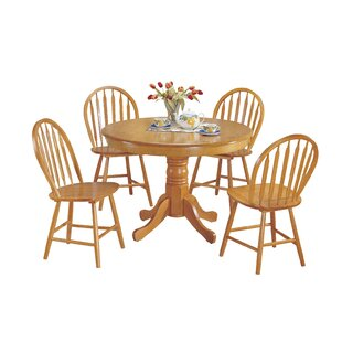 Jaylene Farmhouse 5 Piece Solid Wood Dining Set