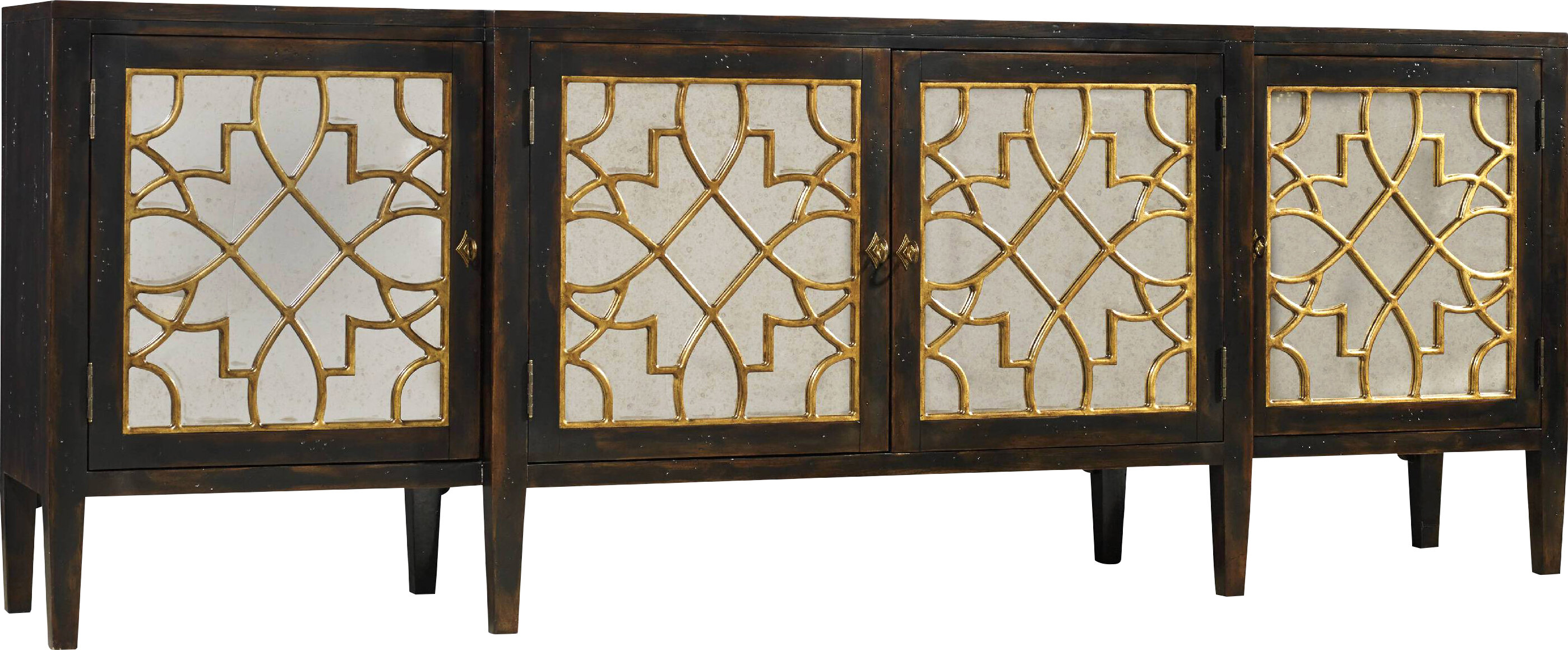 Hooker Furniture Living Room Sanctuary Four Door Mirrored Console ...