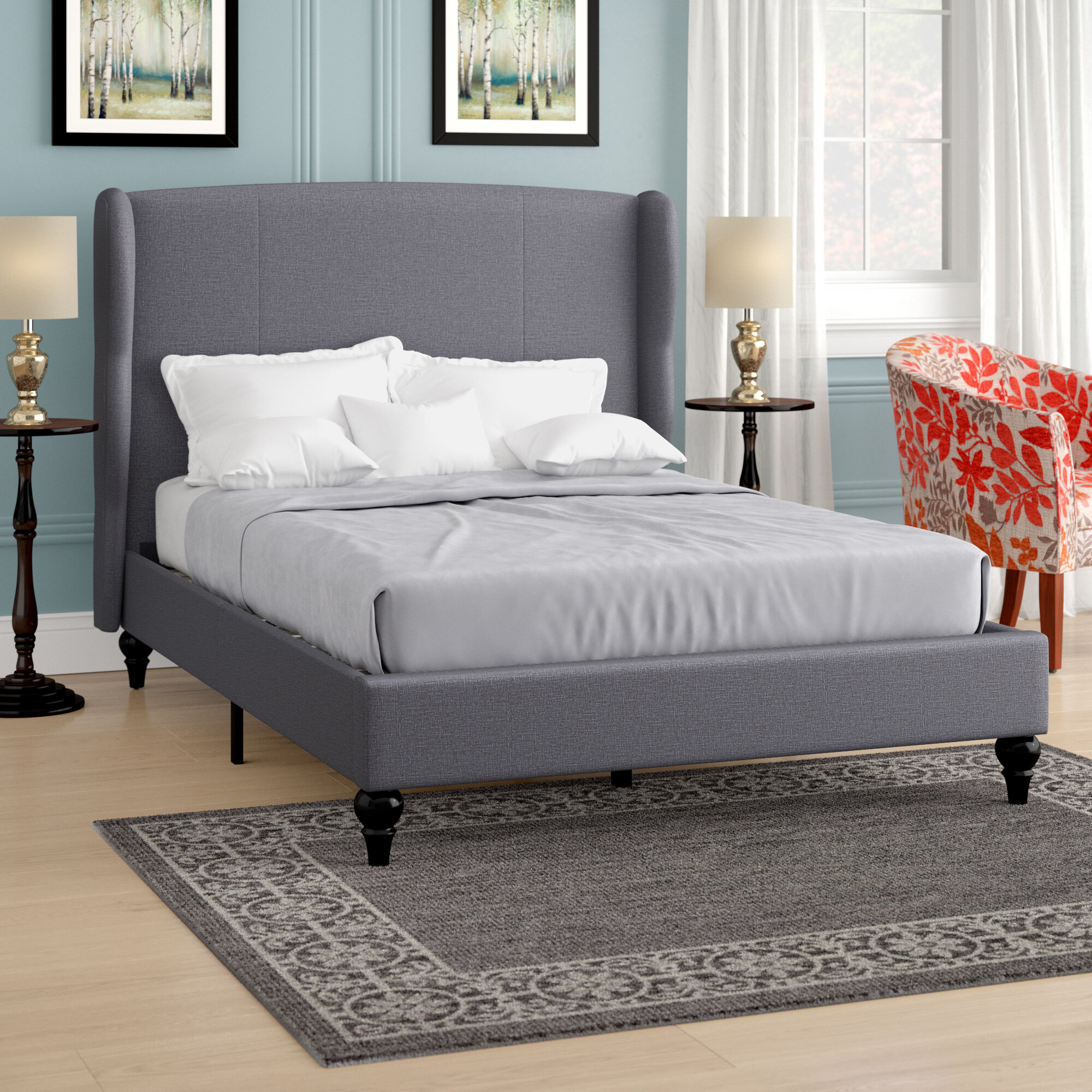 Gibsonburg Linen Upholstered Platform Bed With Shelter Headboard
