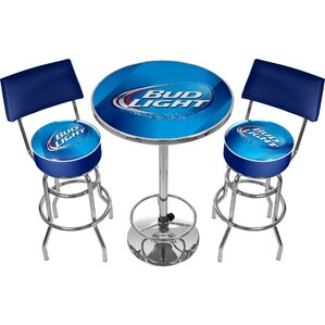 Bud Light 3 Piece Pub Table Set by Trademark Global