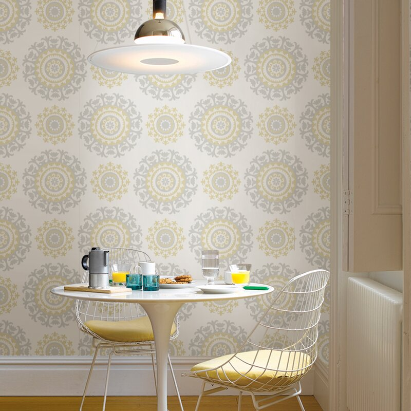 """Grey and Yellow 18' x 20.5"""" Suzani Peel And Stick Wallpaper Roll"""