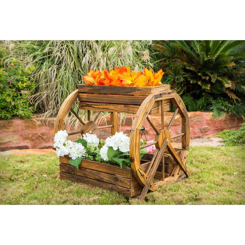 Millwood Pines Aldridge 3 Tier Wagon Wheel Pine Planter Box Wayfair
