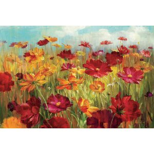 'Cosmos in the Field' Graphic Art on Wrapped Canvas