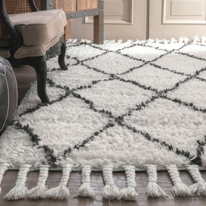 Twinar Hand Knotted Wool Off White Dark Grey Area Rug