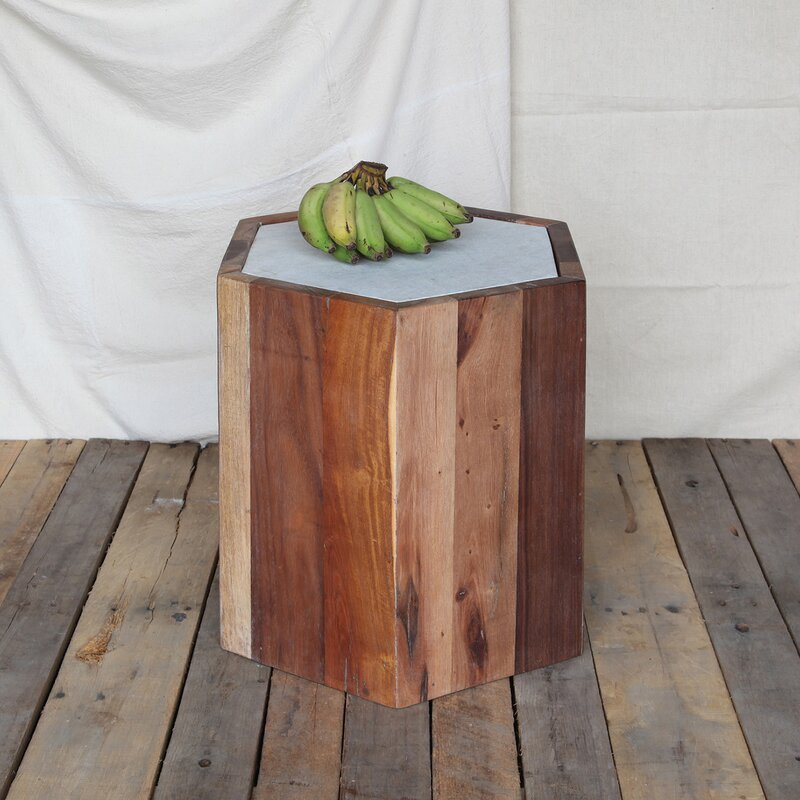 Marvelous Crofoot Reclaimed Hexagon End Table