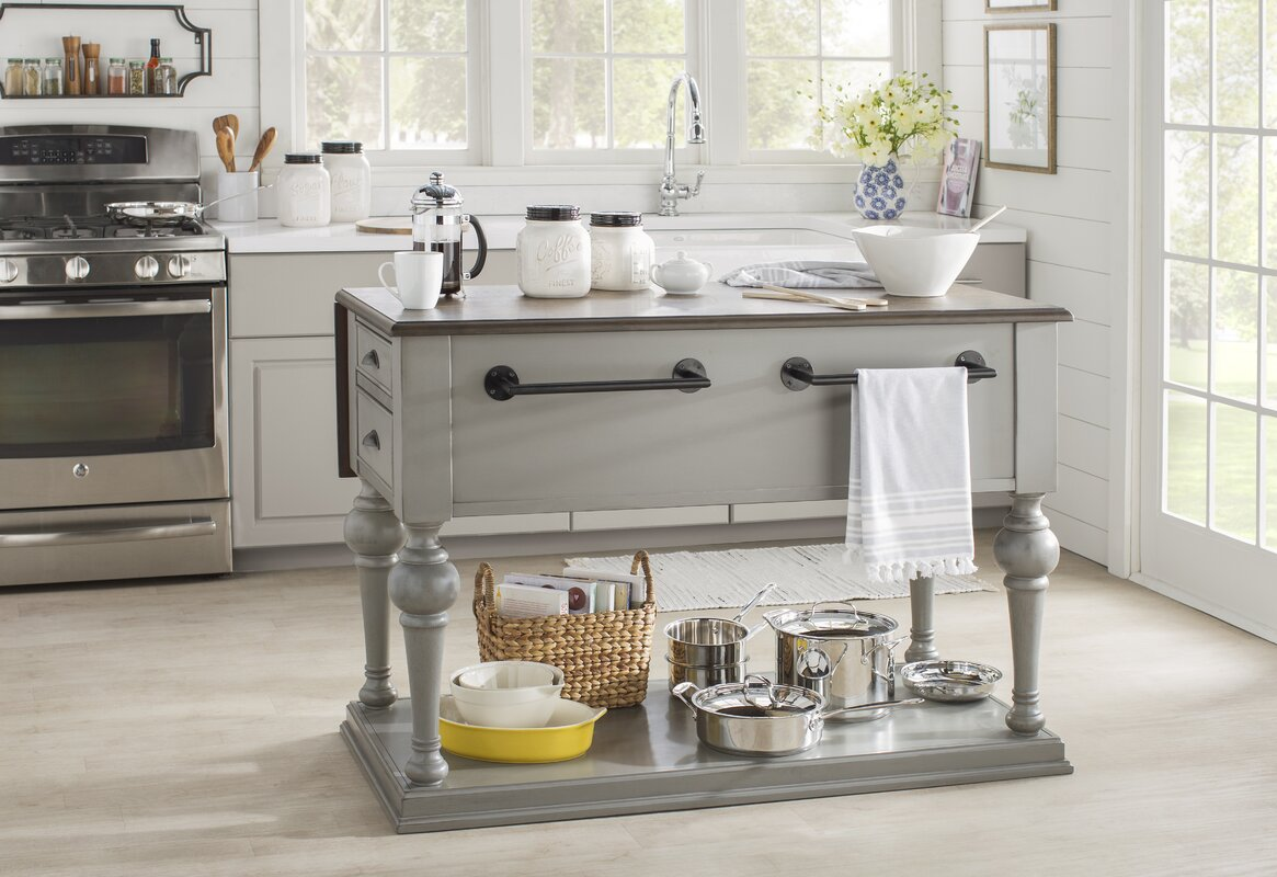 Lark Manor Serpentaire Kitchen Island With Wood Top