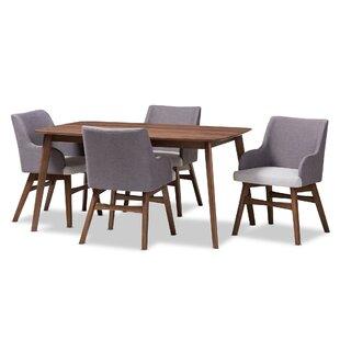 Bergeron Mid-Century Wood Rectangular 5 Piece Dining Set