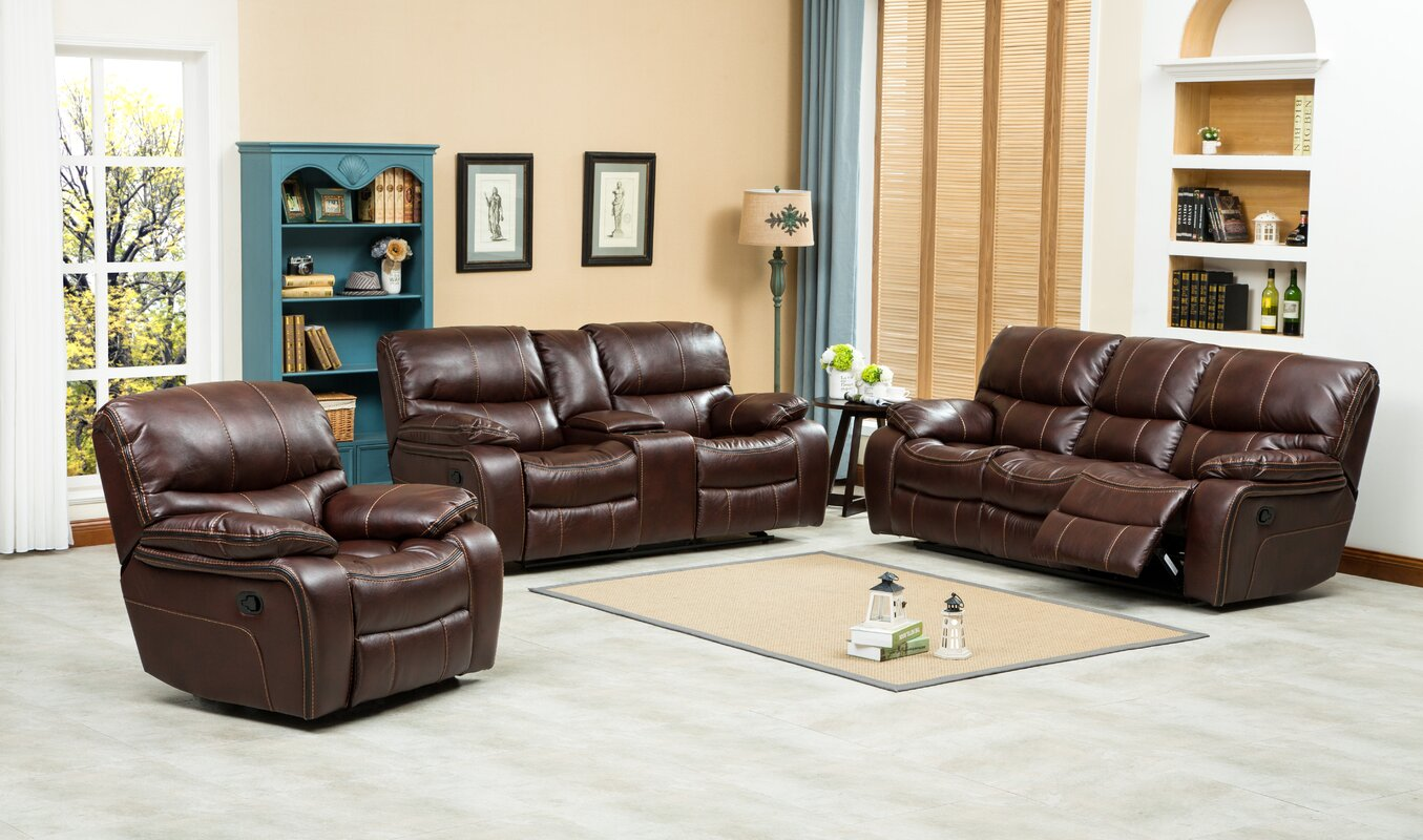 Roundhill Furniture Ewa Piece Reclining Leather Living Room Set