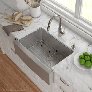 Handmade Series 29.75u201d X 20.75u201d Farmhouse Kitchen Sink With Faucet And Soap  Dispenser