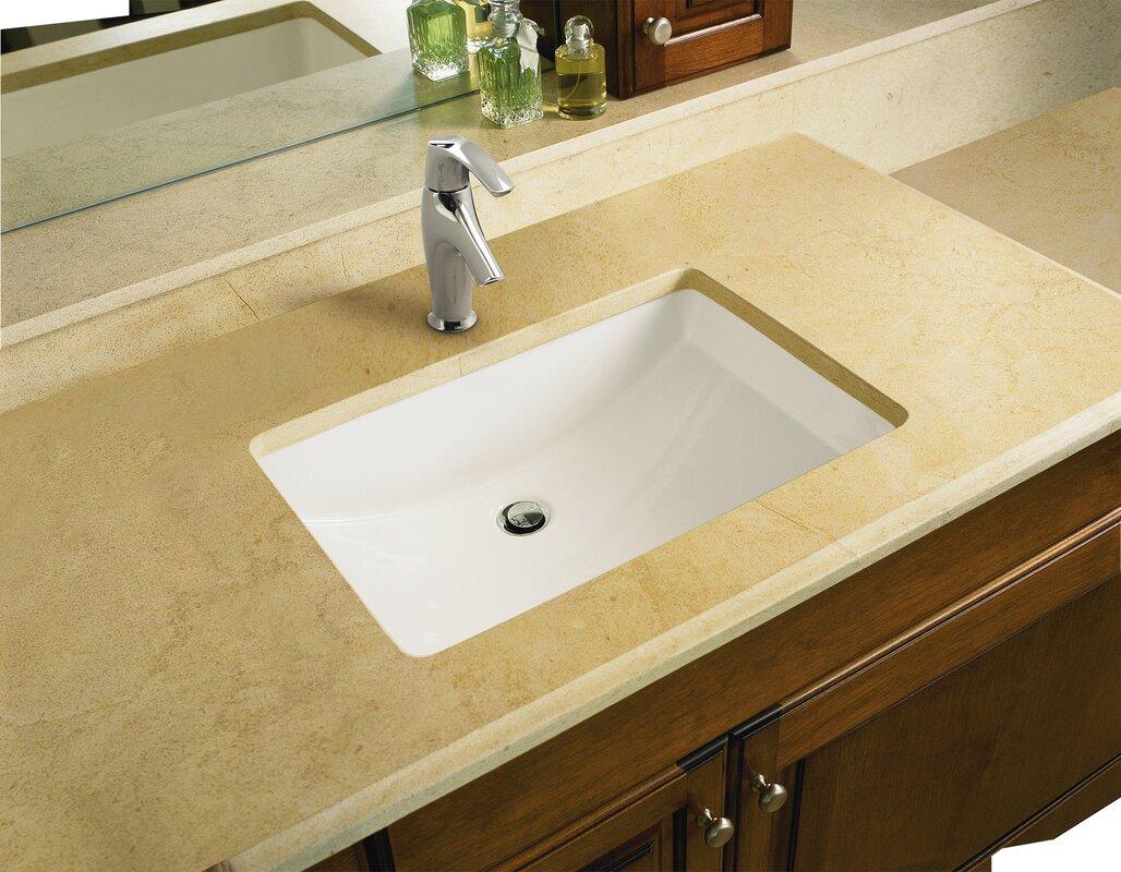 Marabou™ Ceramic Rectangular Undermount Bathroom Sink With Overflow