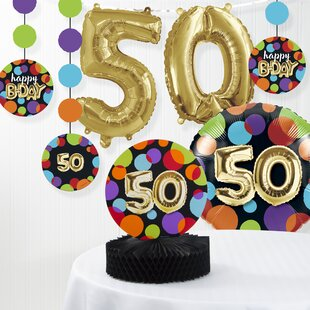 Balloon 50th Birthday Decorations Kit Set Of 7