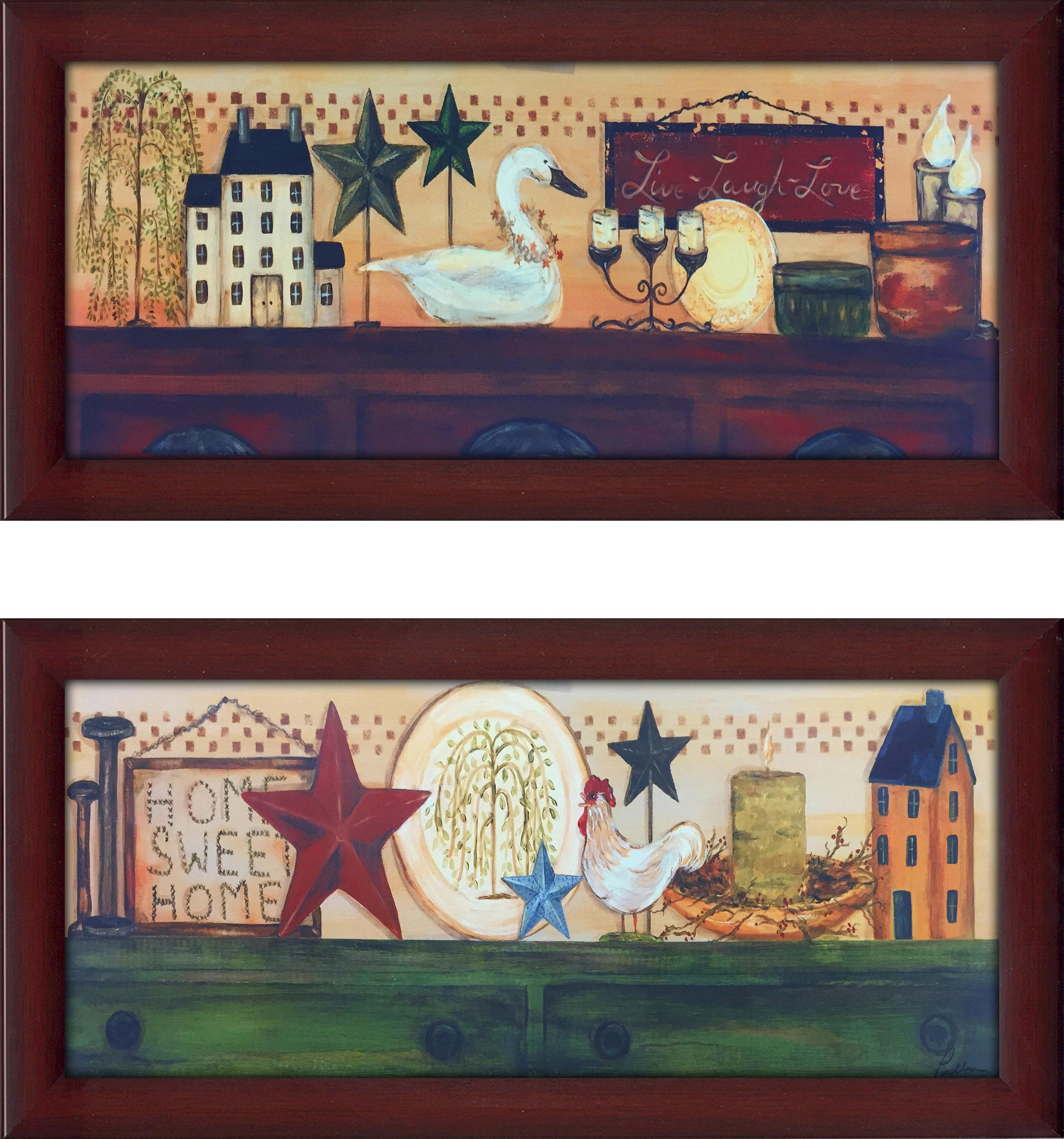 August Grove Live Laugh Love 2 Piece Framed Print Set Wayfair