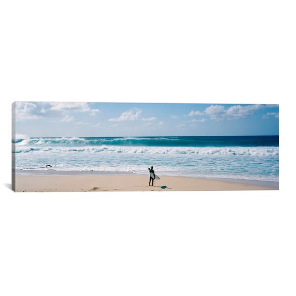 ICanvas Panoramic Surfer Standing On The Beach, North