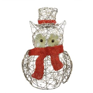 Lighted Glitter Rattan Owl Christmas Yard Art Decoration