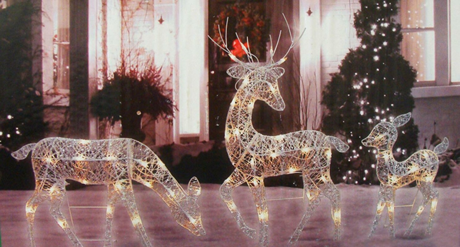 Three Posts 3 Piece Glittered Doe Fawn And Reindeer