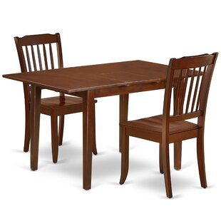 Kulikowski 3 Piece Extendable Solid Wood Dining Set