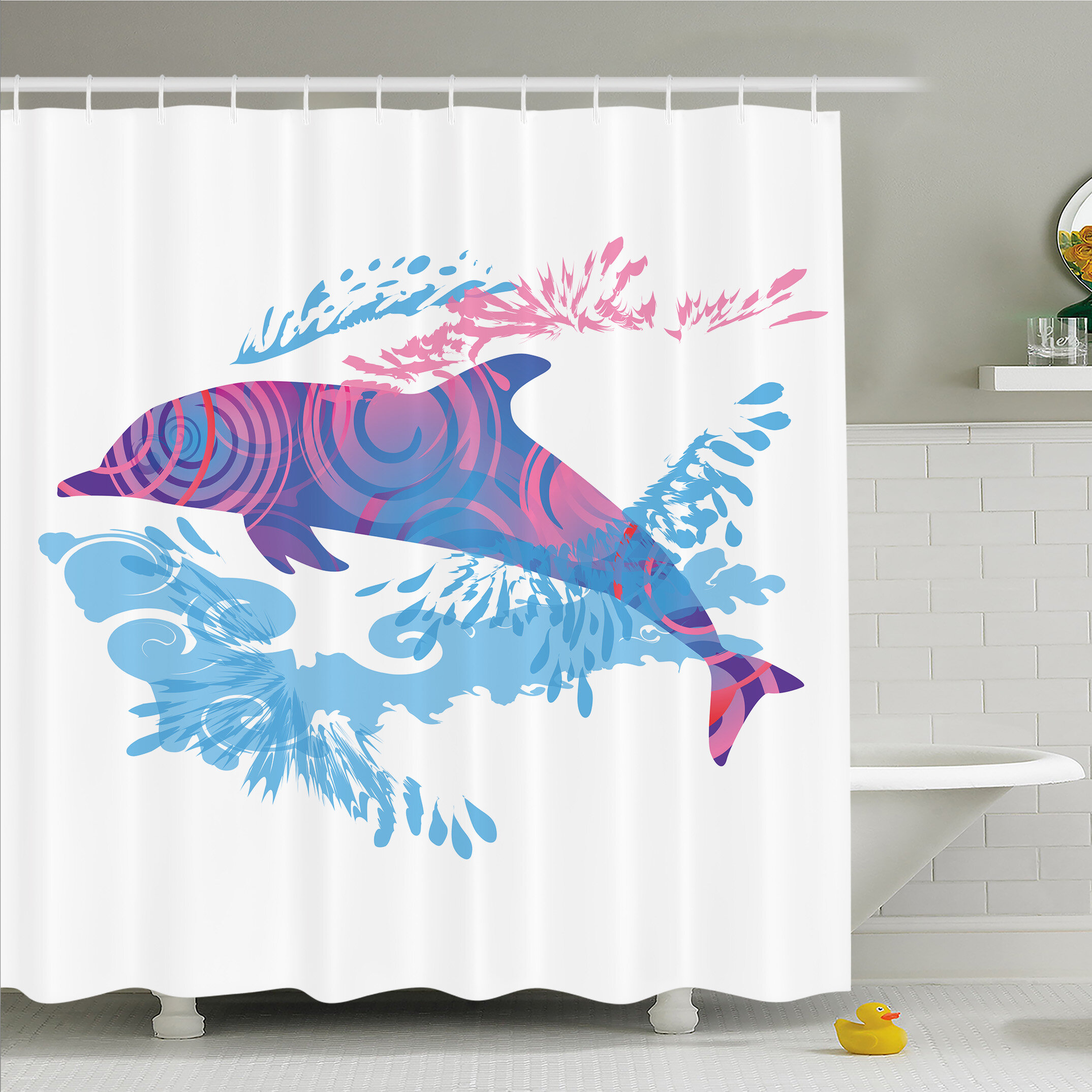Ambesonne Sea Animals Dolphin Figure With Colorful Patterns Underwater Life Shower Curtain Set Wayfair