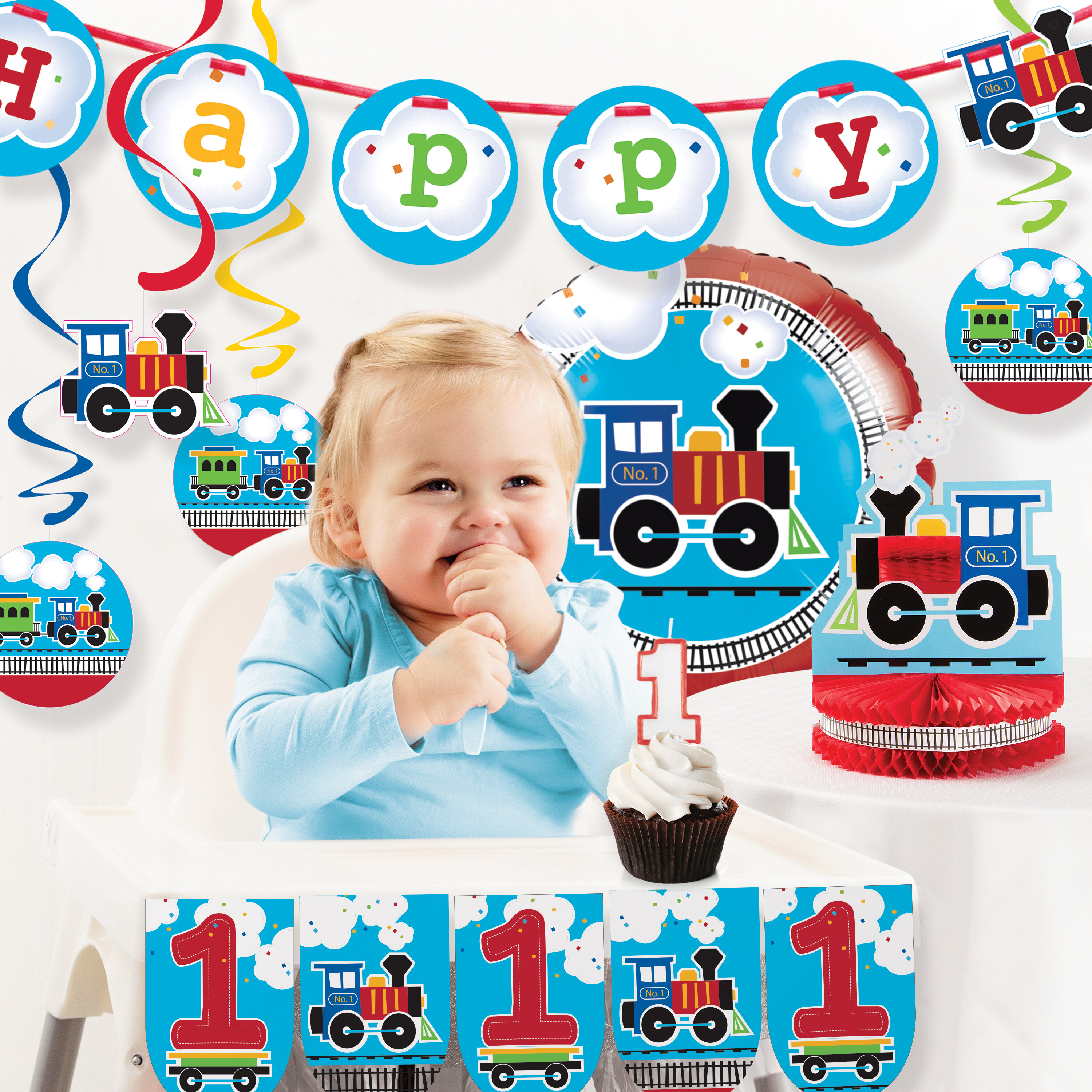 The Party Aisle All Aboard Train First Birthday Decoration Kit