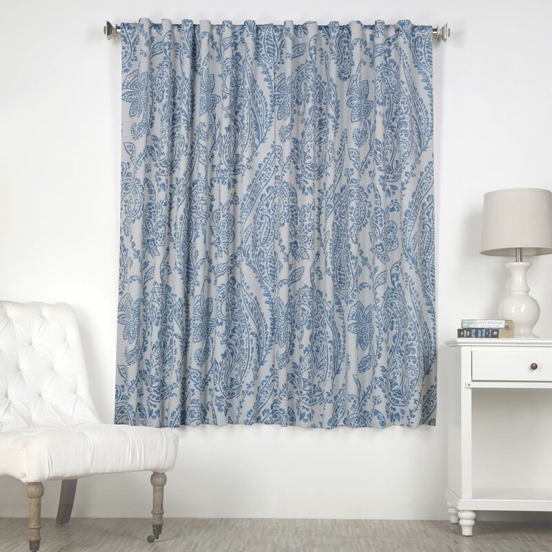 Alcott Hill Trafalgar Paisley Blackout Thermal Rod Pocket Single Curtain Panel