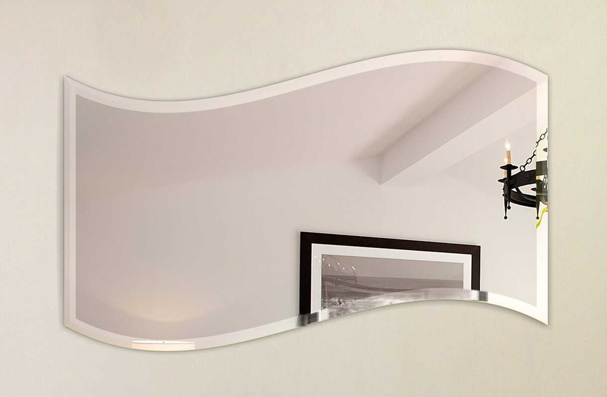 Wall Mirror With Hooks fab glass and mirror wavy beveled polish frameless wall mirror