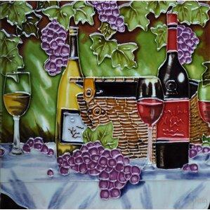 Wine Basket And Purple Grape Tile Wall Decor