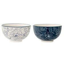 2 Piece Ceramic Fleur Bowl Set (Set of 2)