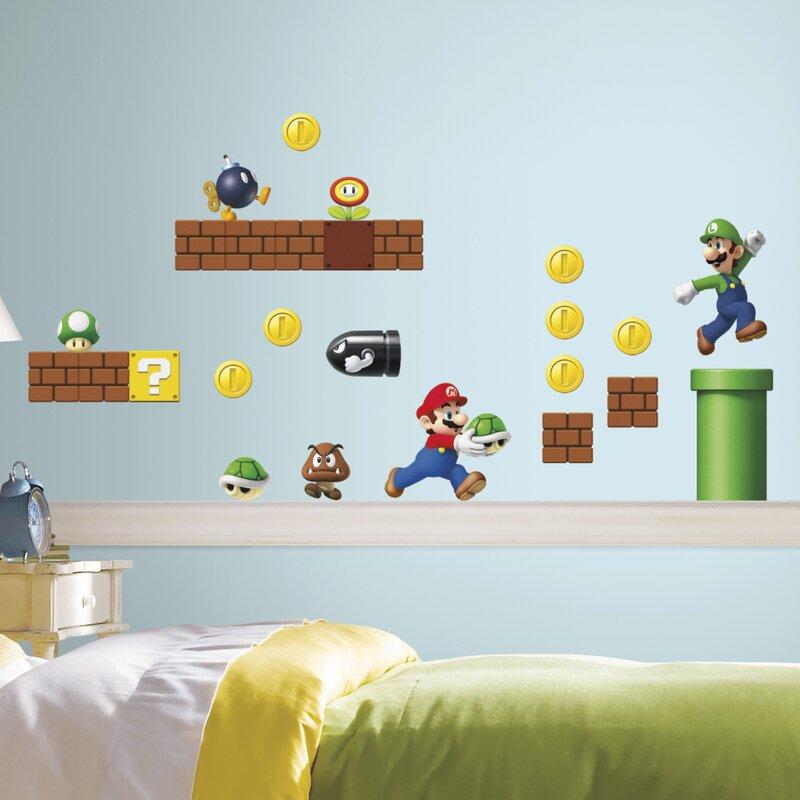 Nintendo 45 Piece Super Mario Wall Decal & Room Mates Nintendo 45 Piece Super Mario Wall Decal u0026 Reviews | Wayfair