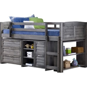 Evan Twin Low Loft Slat Bed with Bookcase and Chest by Harriet Bee