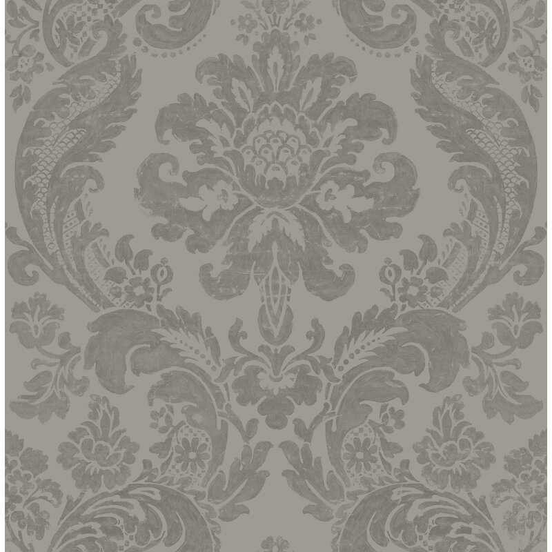 "Moonlight Shadow Damask 33' x 20.5"" Wallpaper Roll"