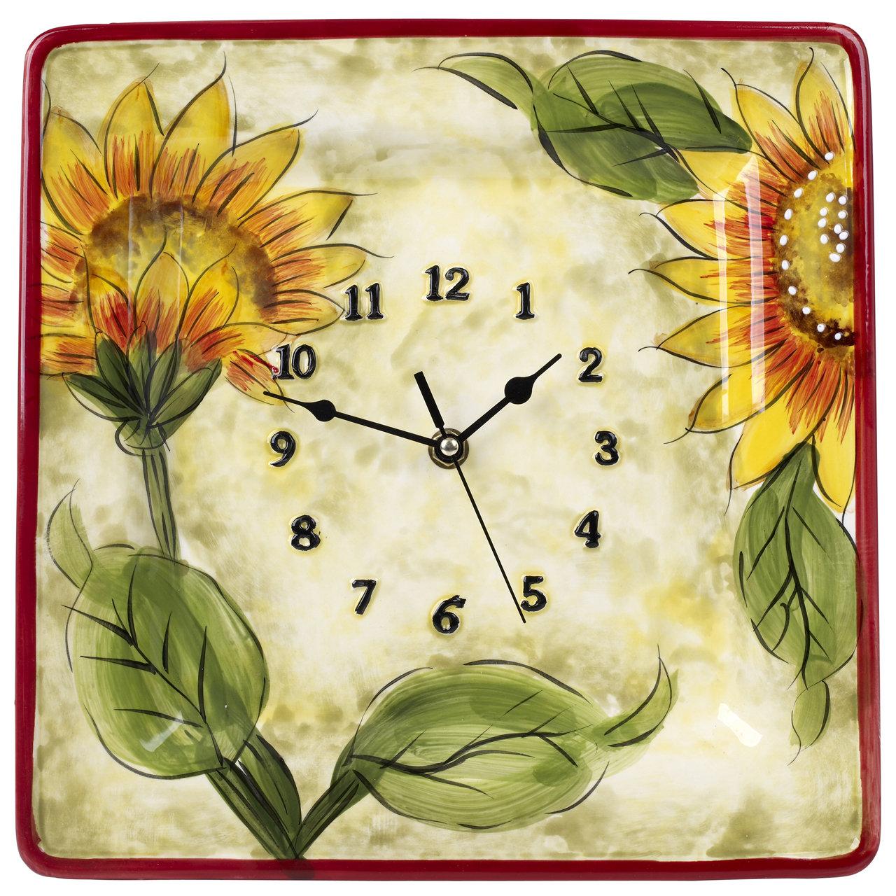 Fleur De Lis Living Ceramic Sunflower Décor Wall Clock & Reviews ...